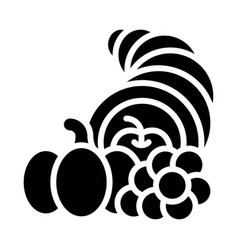 Cornucopia with fruit and vegetable icon vector
