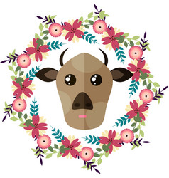 Cow and floral wreath vector