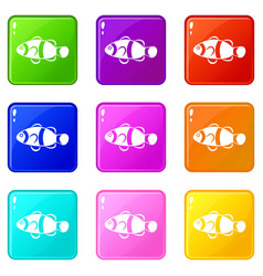 Cute clown fish icons 9 set vector