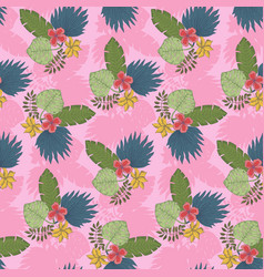 cute pink pattern with tropical leaves bouquets vector image