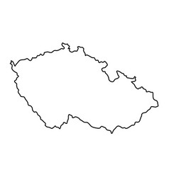 czech republic map of black contour curves of vector image