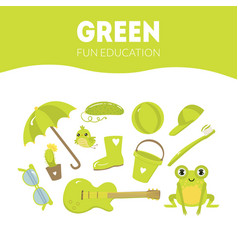Different objects in green color fun educational vector