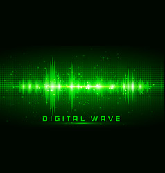 Digital wave sound waves oscillating glow light vector