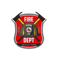 Fire department icon fireman helmet and axes vector