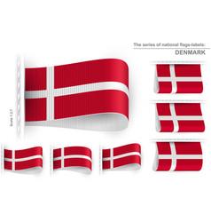 Flag tag clothes label sticker sewn set denmark vector