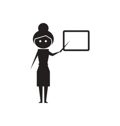 Flat icon in black and white teacher vector