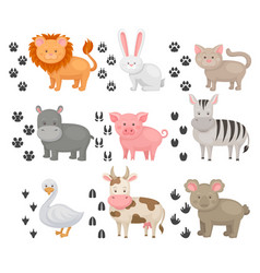 Flat set of animals and heir footprints vector