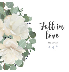 floral card design with garden white flowers vector image