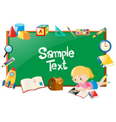 frame design with girl and many school objects vector image