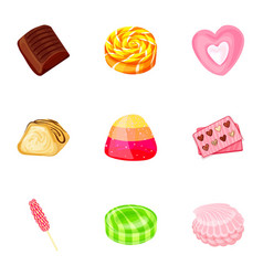 fruit candy icon set cartoon style vector image