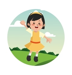Girl kid cartoon design vector