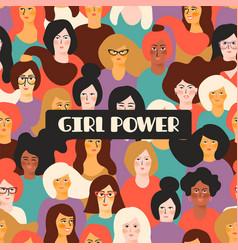 Girl power template vector