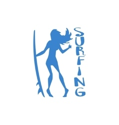 Girl standing with surfboard print vector