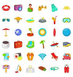 Good travel icons set cartoon style vector