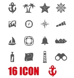 grey nautical icon set vector image