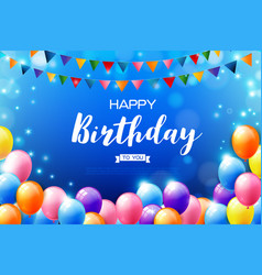 Happy birthday text background with realistic vector