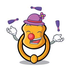 Juggling vintage door knocker on mascot cartoon vector
