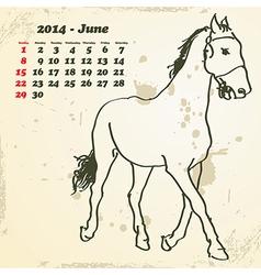 June 2014 hand drawn horse calendar vector image
