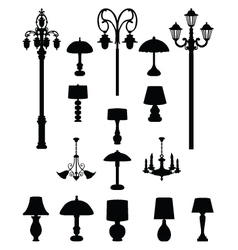 Lamps and lanterns vector image