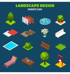 Landscape Design Isometric Icons vector