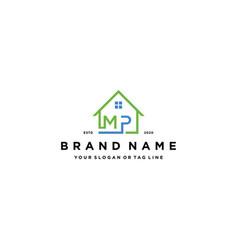 Letter mp home logo design vector