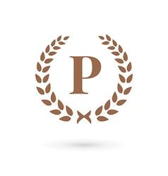 Letter P laurel wreath logo icon design template vector