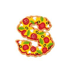 Letter s pizza font italian meal alphabet vector