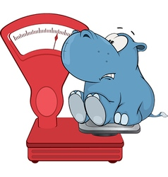 Little hippo and a weighing scale Cartoon vector