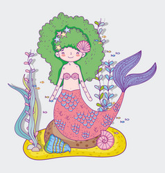 Mermaid woman with plants leaves and shells vector