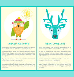 Merry christmas greeting card owl and reindeer vector