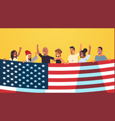 mix race people holding united states flag vector image