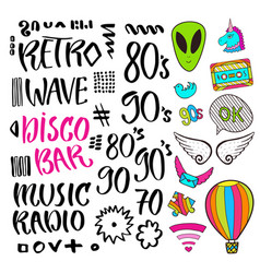 modern lettering pop art stickers and signs vector image