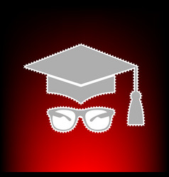 mortar board or graduation cap with glass postage vector image