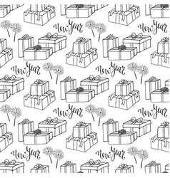 new year gift paper wrapping seamless pattern vector image