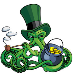 octopus suspicious leprechaun vector image