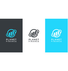 planet finance marketing logo design vector image