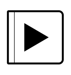 play button icon in black silhouette with thick vector image