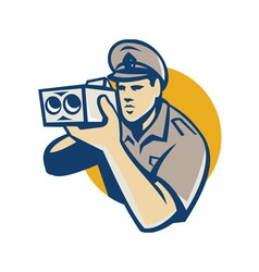 policeman with police speed camera retro vector image