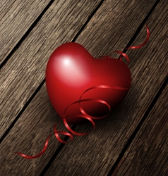 Red Heart On A Wood Boards vector image