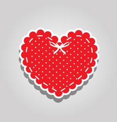 Red heart with white polka dots pattern lacing vector
