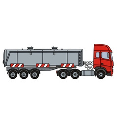 Red towing truck with a tank semitrailer vector