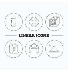 Refrigerator multicooker and oven icons vector
