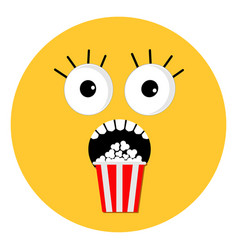 scary face emotions boo popcorn round shape i vector image