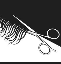 scissors cut hair curls vector image
