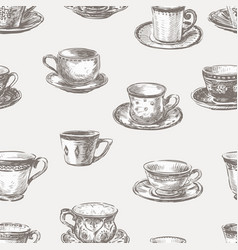 Seamless pattern of different teacups vector