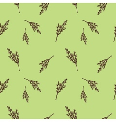 Seamless pattern with willow branches Nature vector