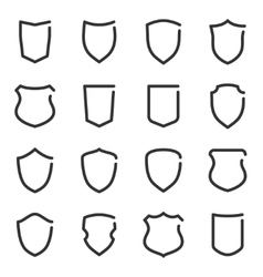 set different shield outline icons vector image