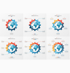 set gear wheel style chart template with globe vector image