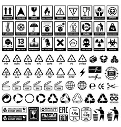 Set icons for packaging and recycling elements vector