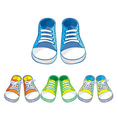 Set of kids sneakers vector